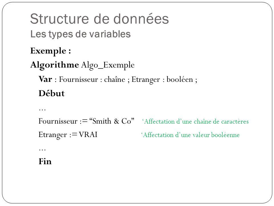 Structure de données Les types de variables