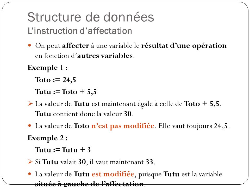 Structure de données L'instruction d'affectation