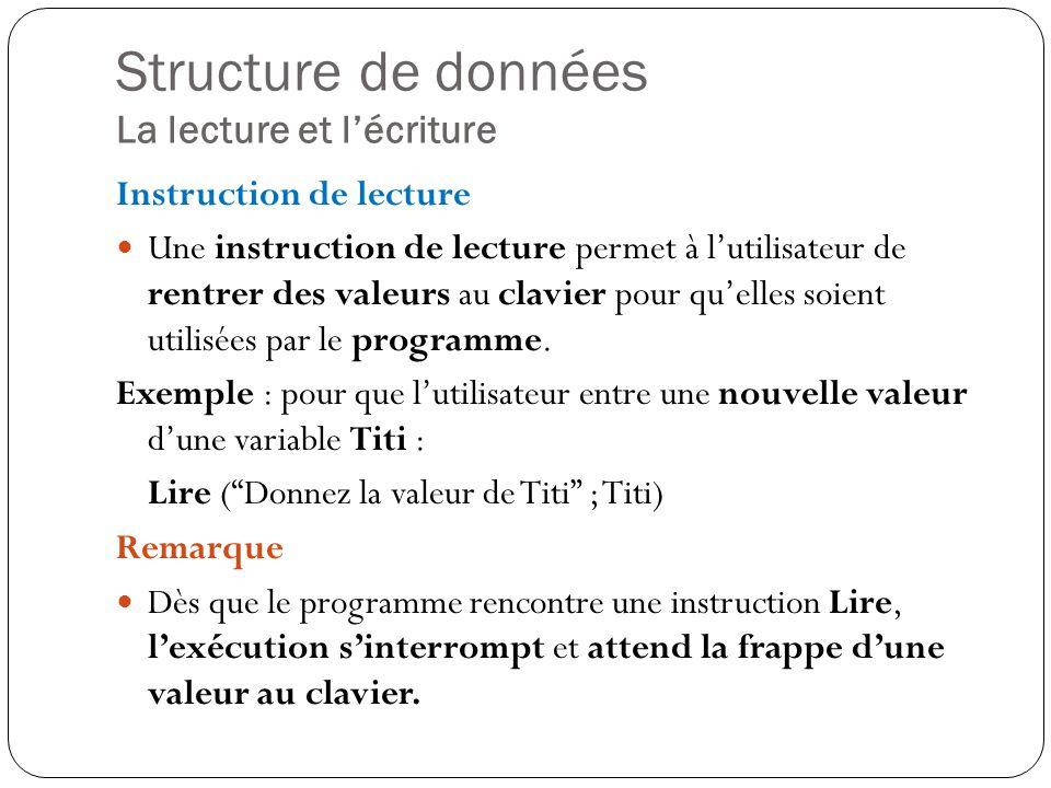 Structure de données La lecture et l'écriture
