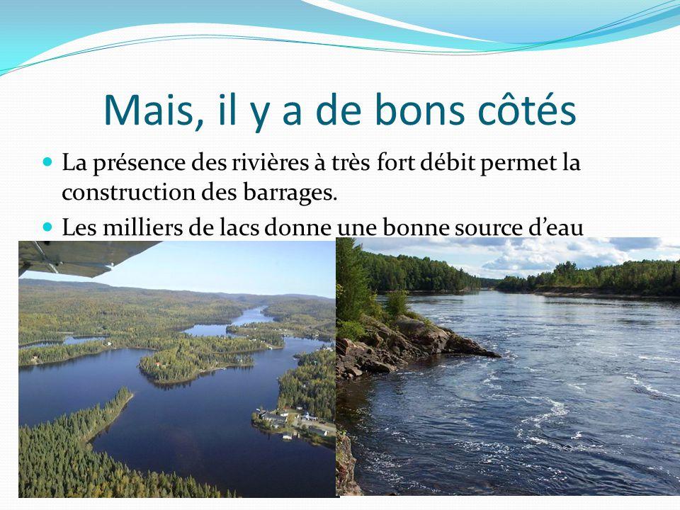 Mais, il y a de bons côtés La présence des rivières à très fort débit permet la construction des barrages.