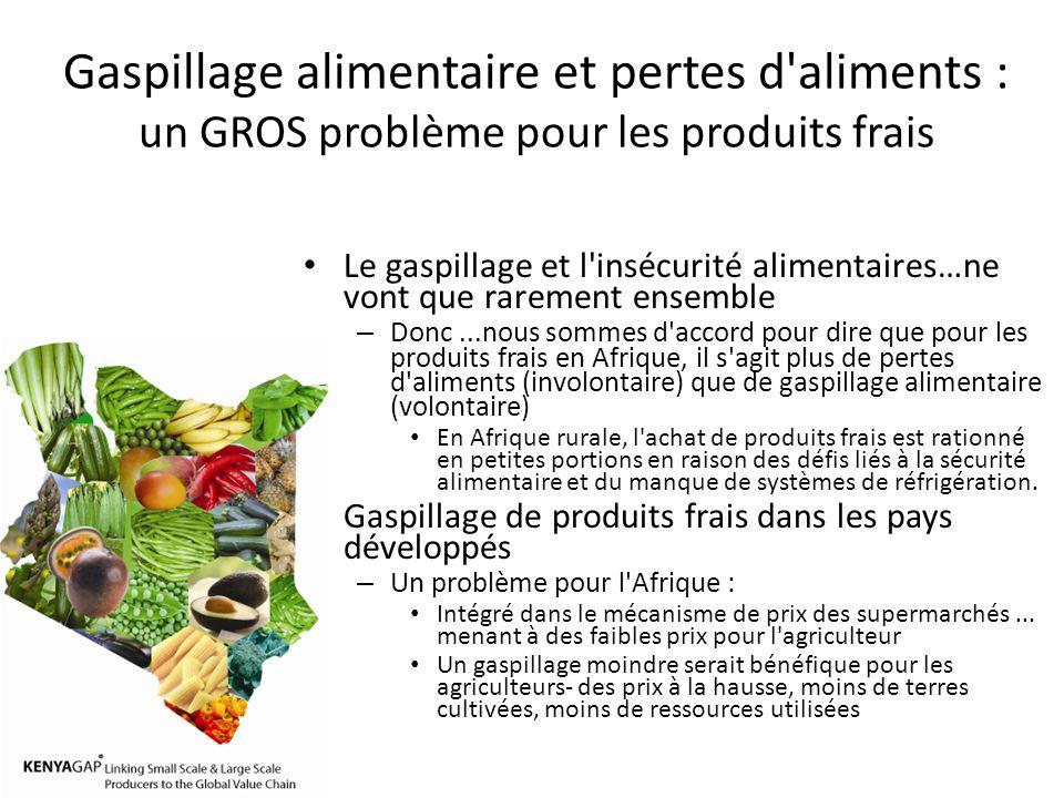 Gaspillage alimentaire et pertes d aliments : un GROS problème pour les produits frais