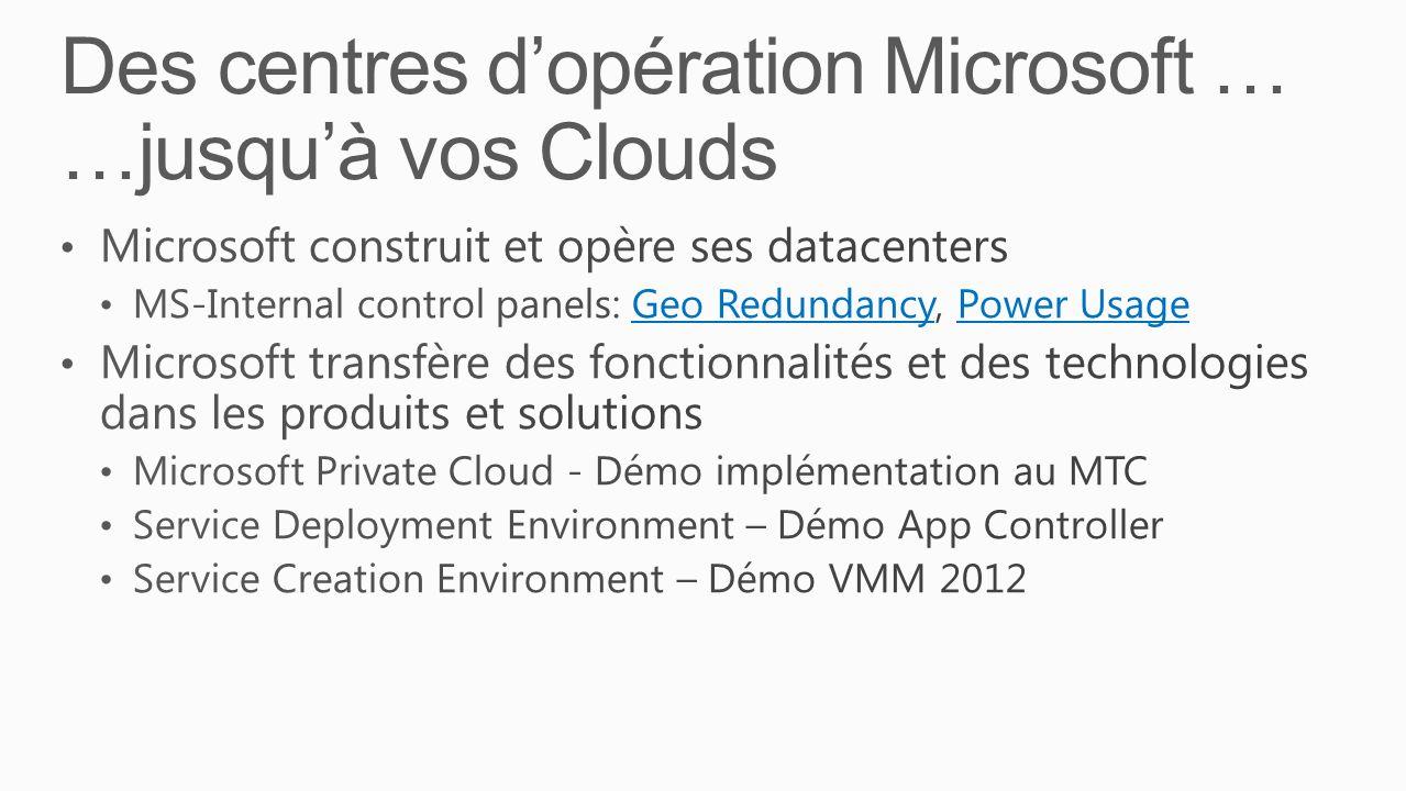 Des centres d'opération Microsoft … …jusqu'à vos Clouds