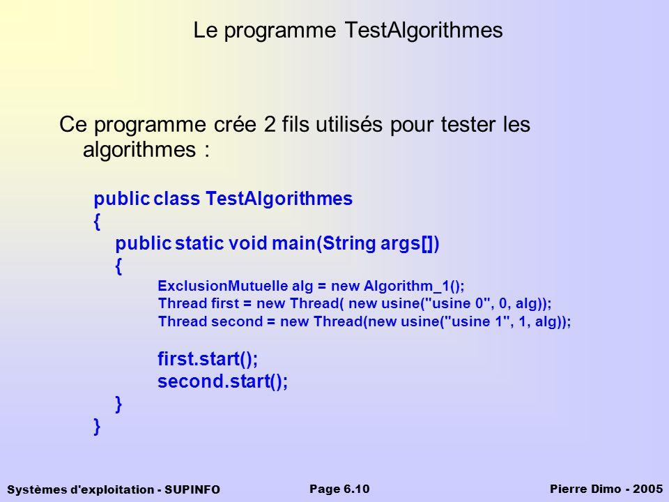 Le programme TestAlgorithmes