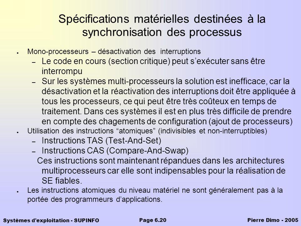 Spécifications matérielles destinées à la synchronisation des processus