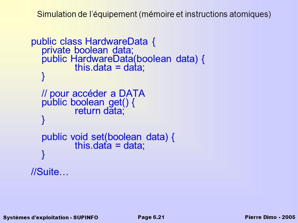 Simulation de l'équipement (mémoire et instructions atomiques)