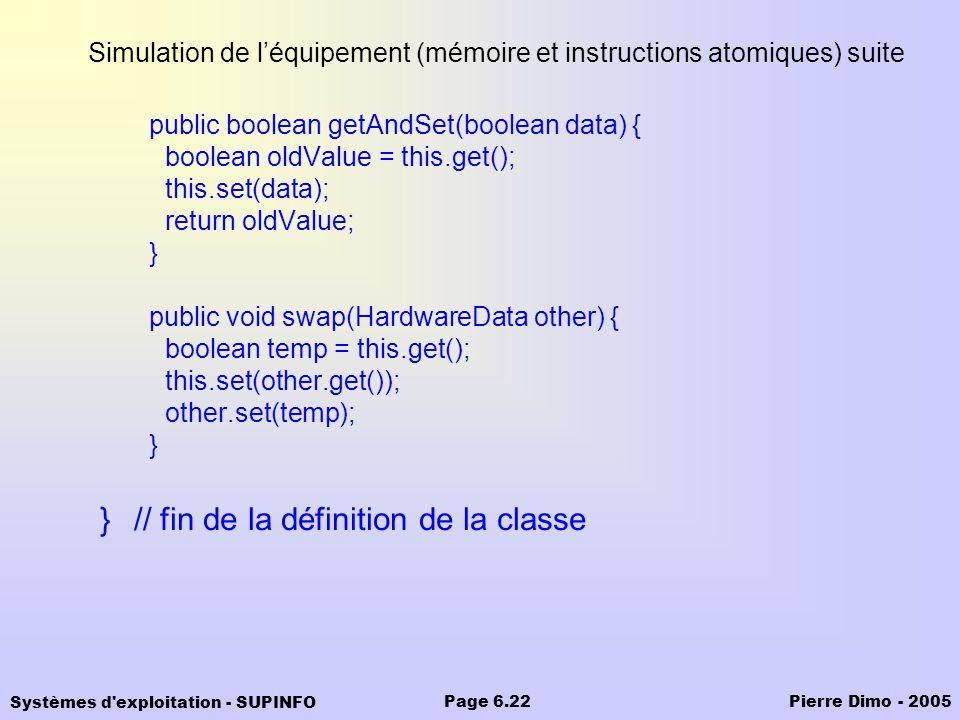 Simulation de l'équipement (mémoire et instructions atomiques) suite