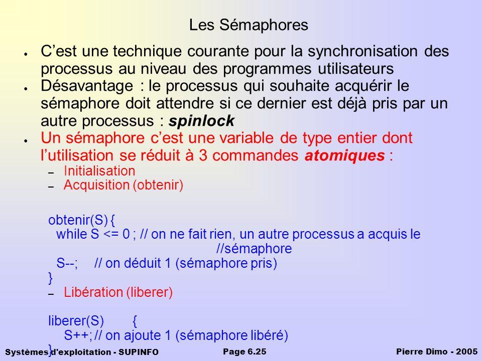 Les Sémaphores C'est une technique courante pour la synchronisation des processus au niveau des programmes utilisateurs.