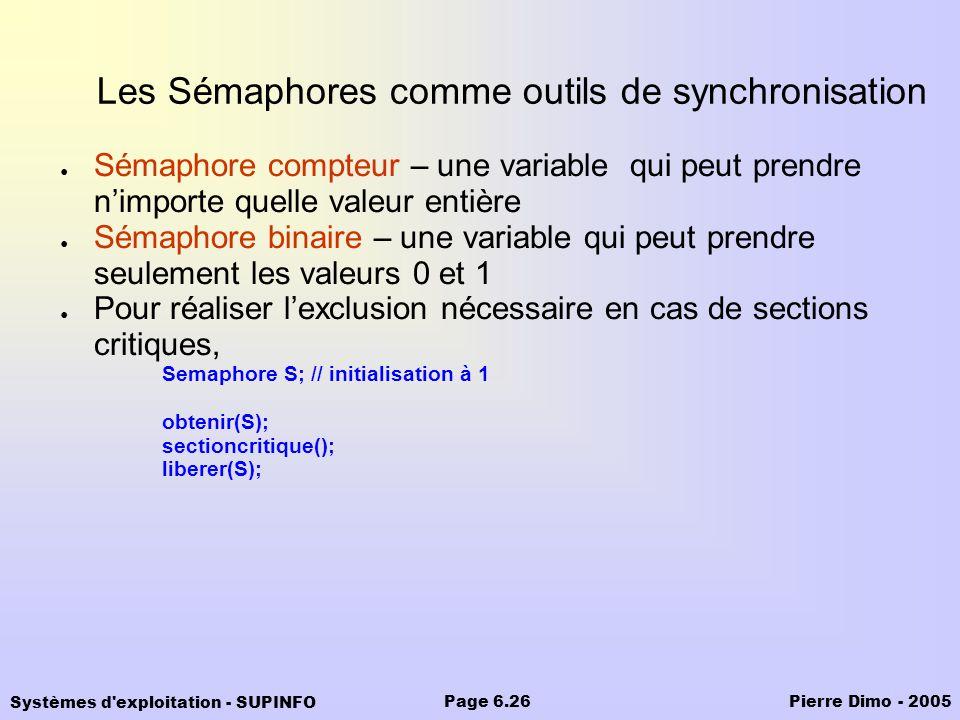 Les Sémaphores comme outils de synchronisation