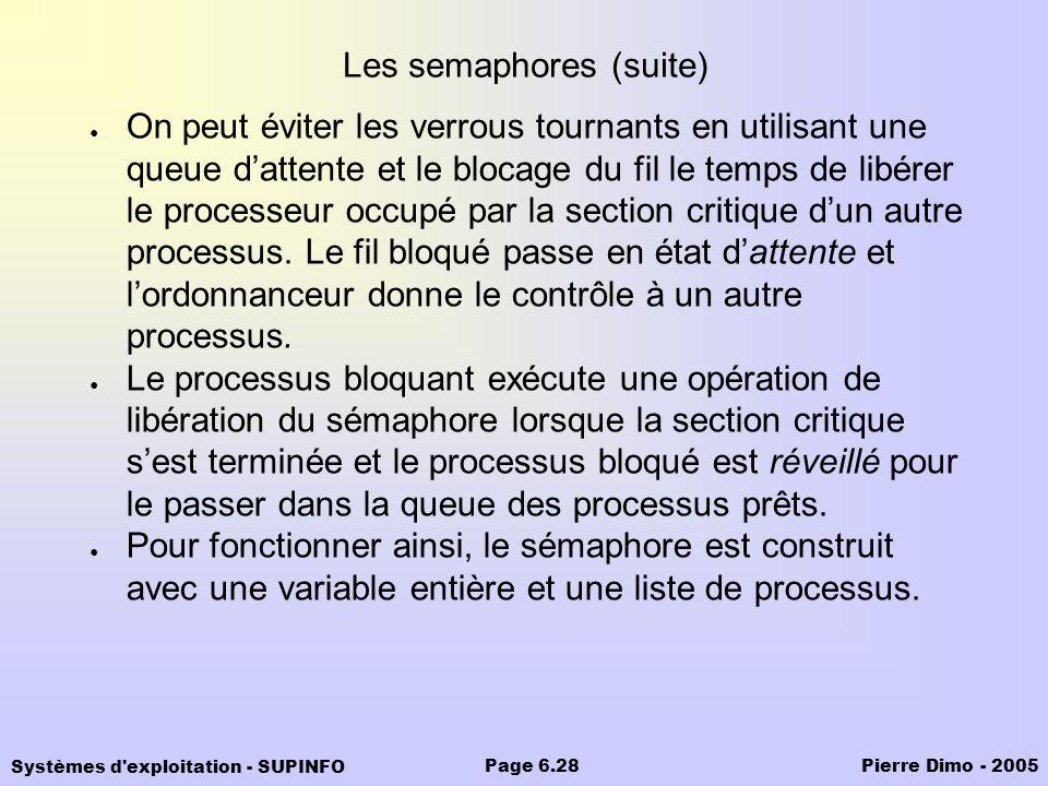 Les semaphores (suite)