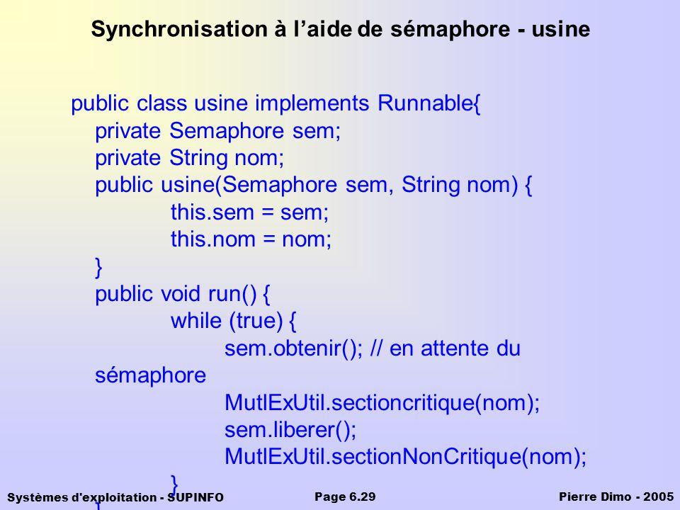 Synchronisation à l'aide de sémaphore - usine
