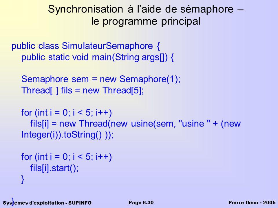 Synchronisation à l'aide de sémaphore – le programme principal