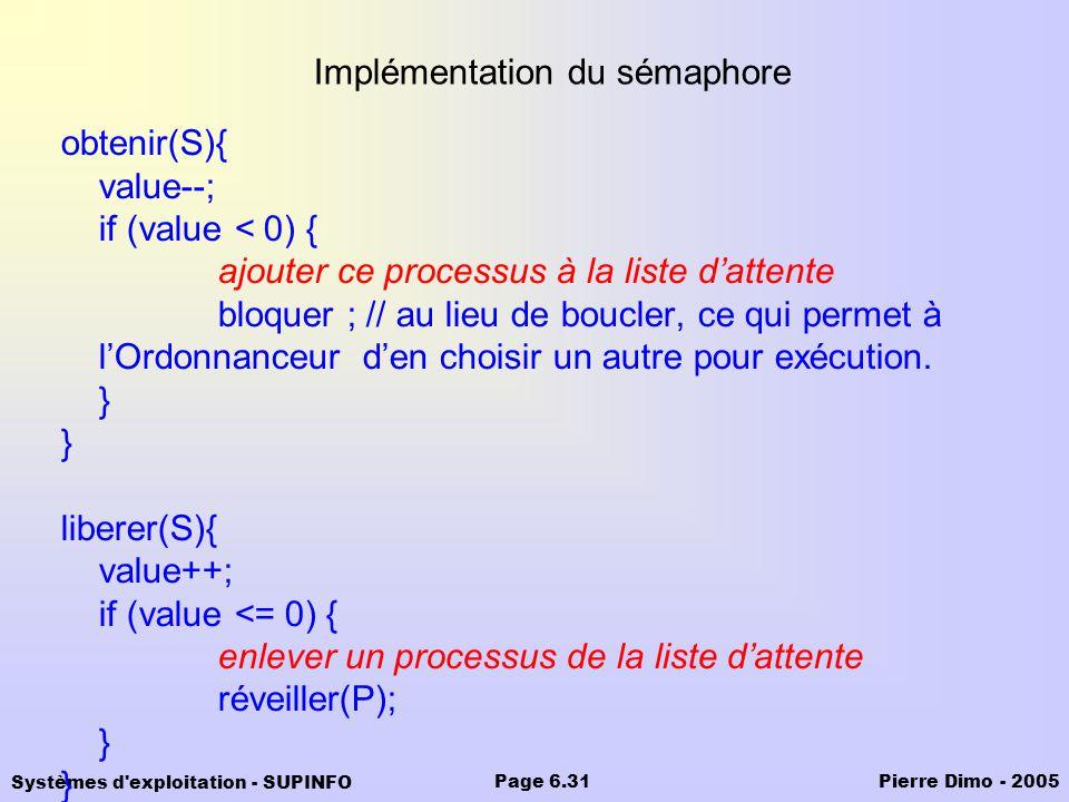 Implémentation du sémaphore