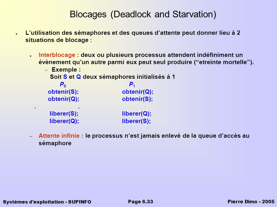 Blocages (Deadlock and Starvation)