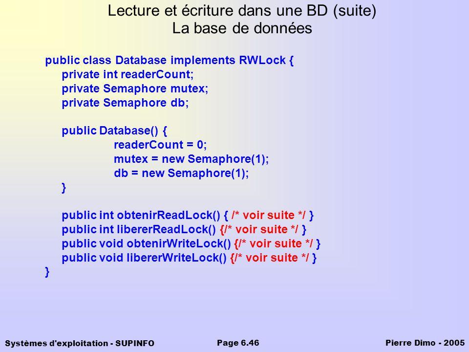 Lecture et écriture dans une BD (suite) La base de données