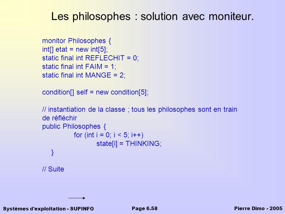 Les philosophes : solution avec moniteur.