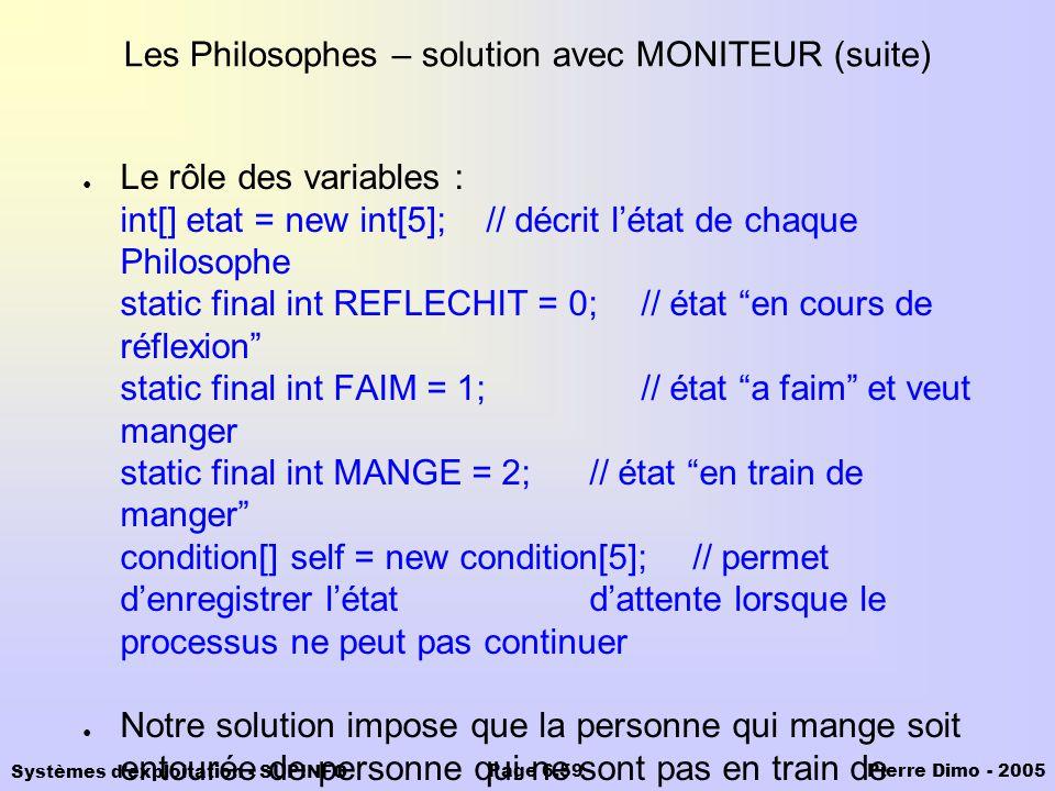 Les Philosophes – solution avec MONITEUR (suite)