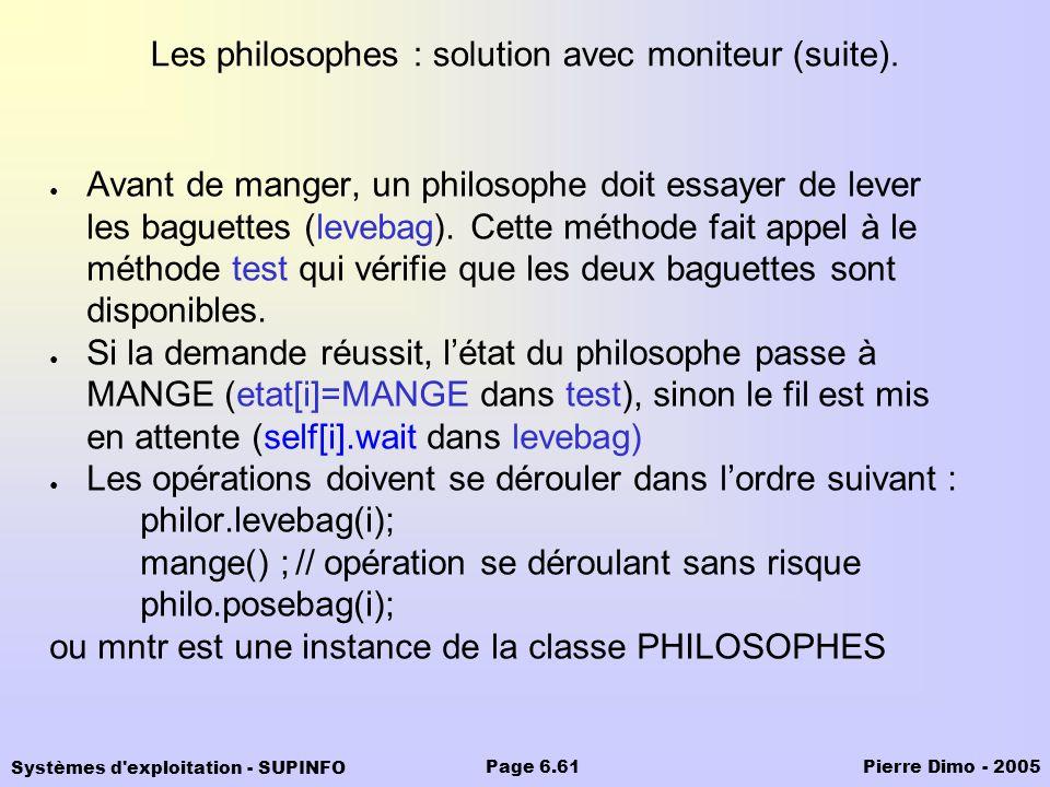 Les philosophes : solution avec moniteur (suite).