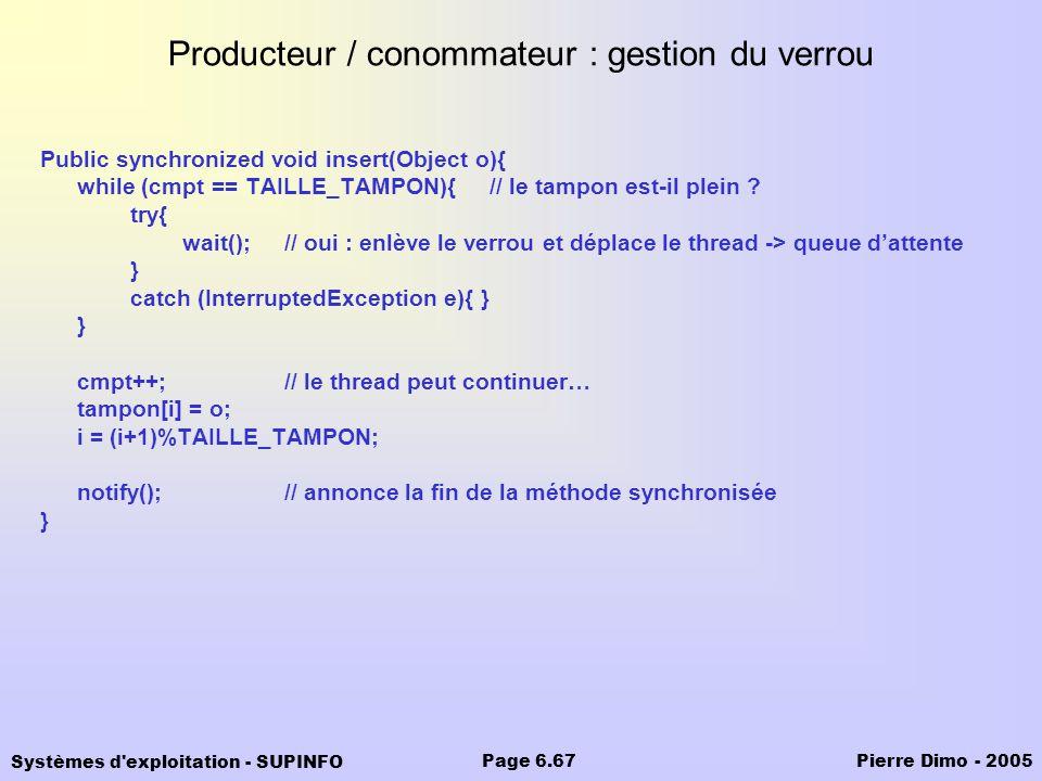 Producteur / conommateur : gestion du verrou