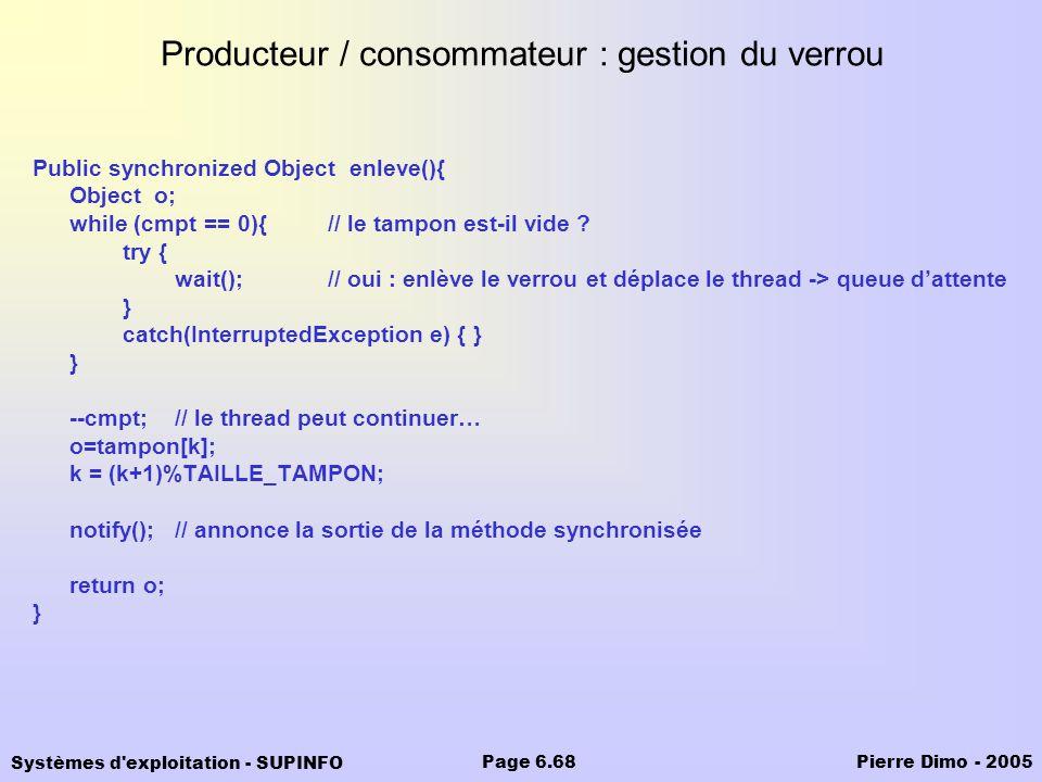 Producteur / consommateur : gestion du verrou