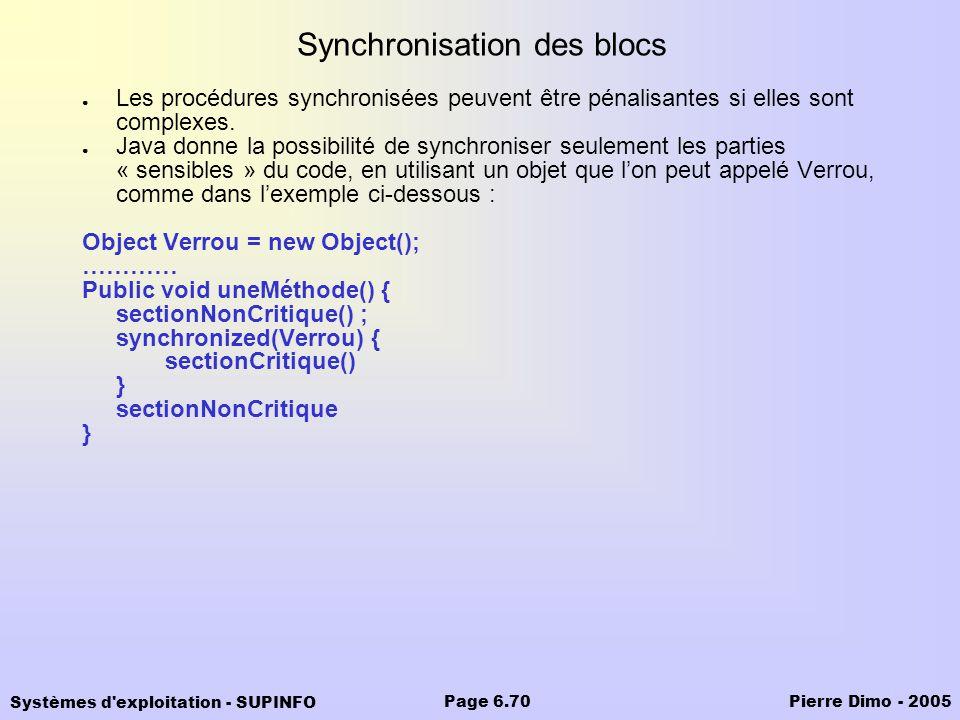 Synchronisation des blocs