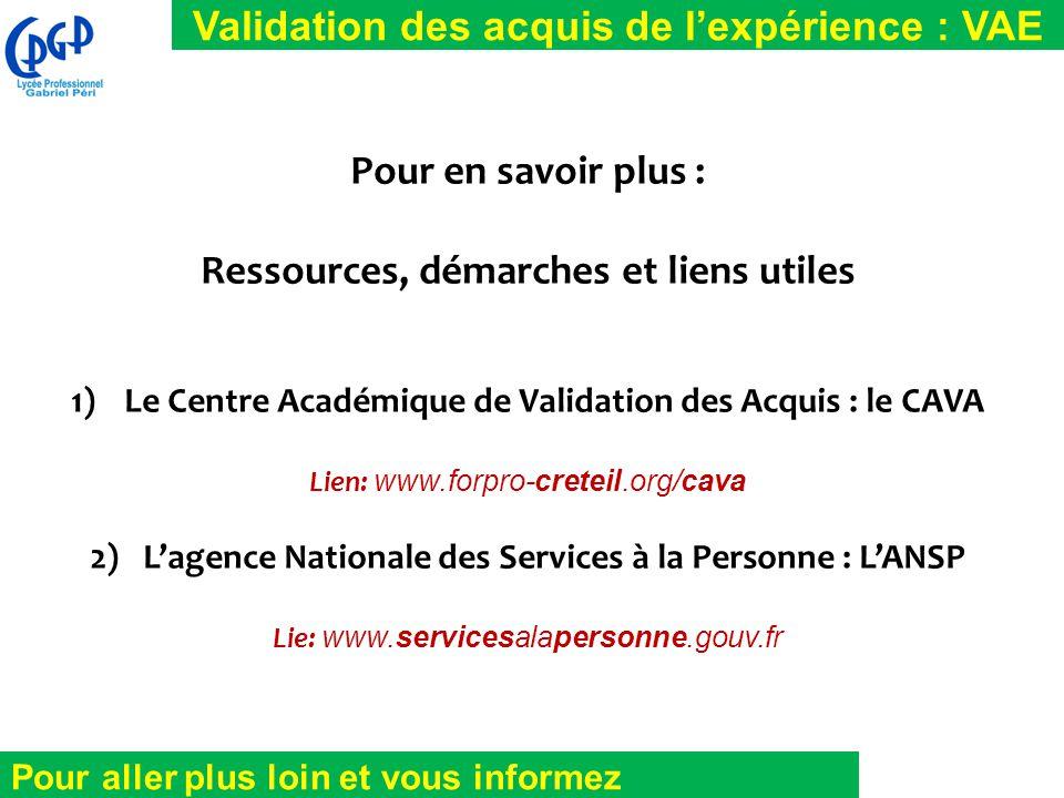 Validation des acquis de l'expérience : VAE