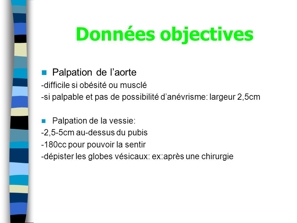 Données objectives Palpation de l'aorte