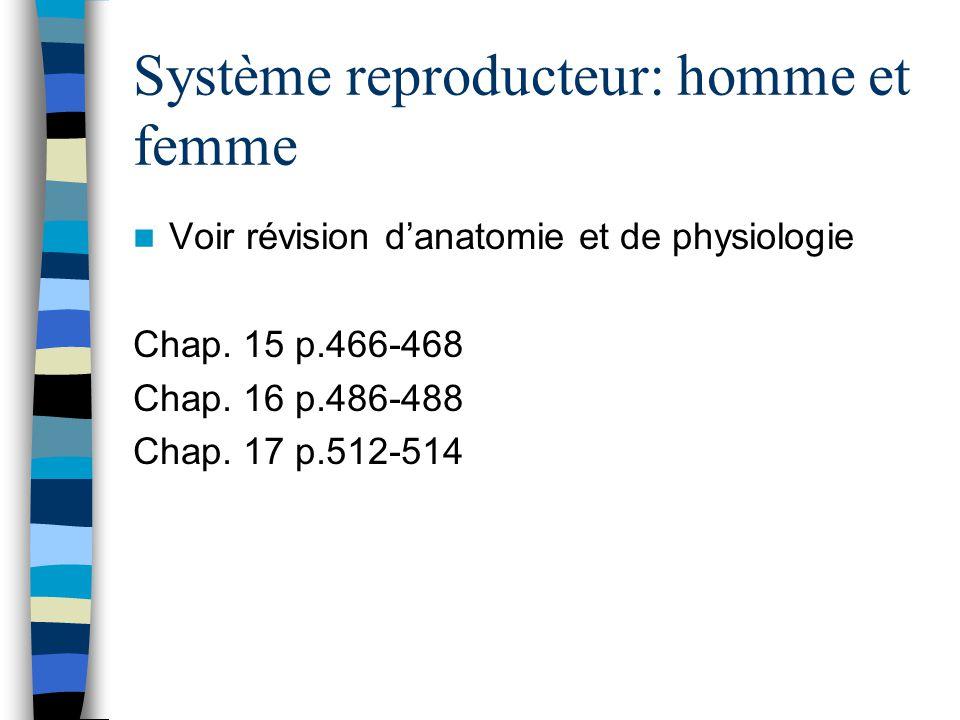 Système reproducteur: homme et femme