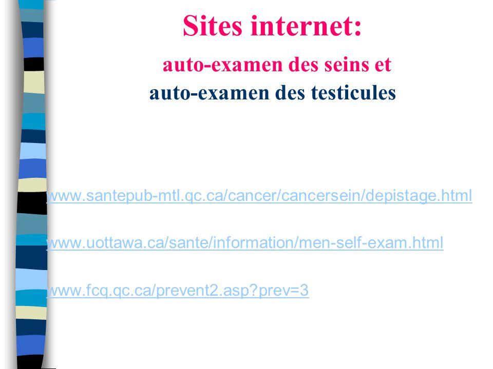 Sites internet: auto-examen des seins et auto-examen des testicules