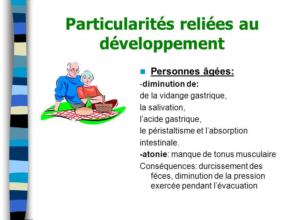 Particularités reliées au développement