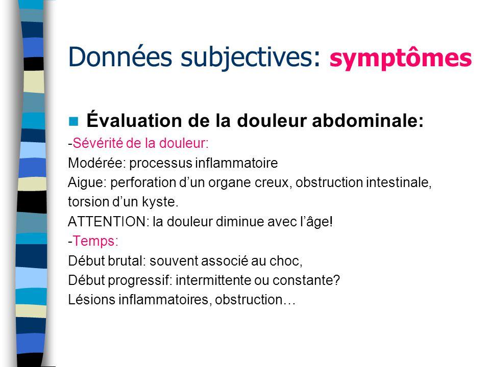 Données subjectives: symptômes