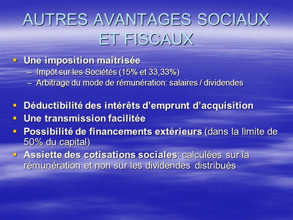 AUTRES AVANTAGES SOCIAUX ET FISCAUX