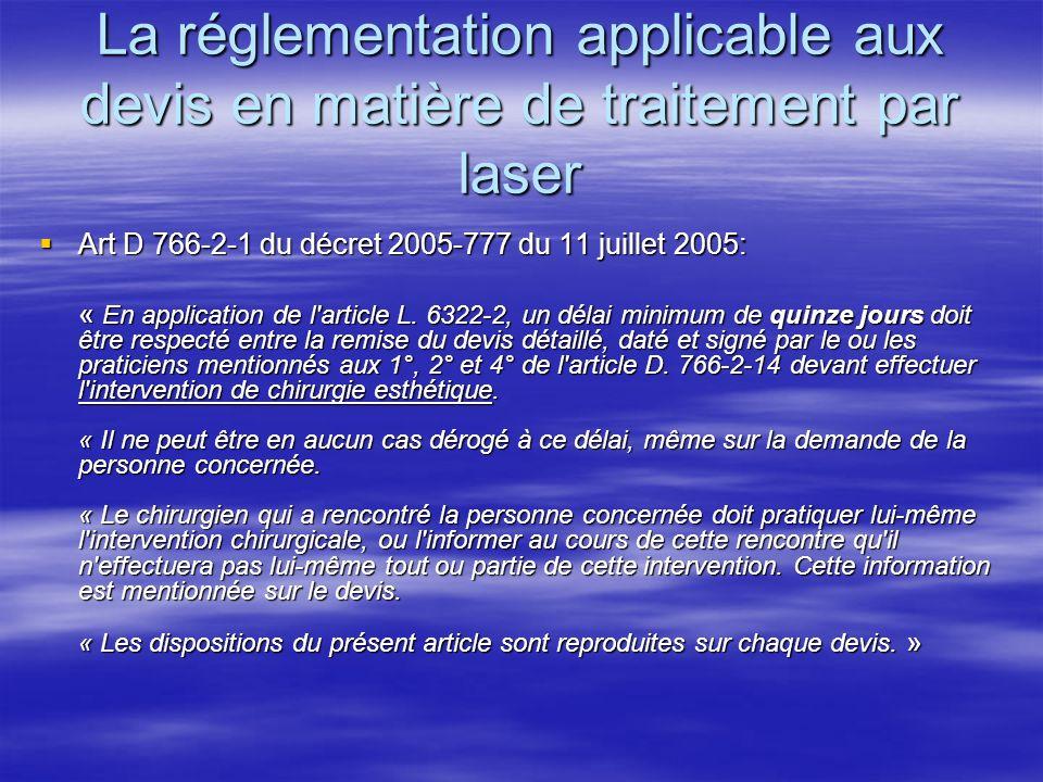 La réglementation applicable aux devis en matière de traitement par laser