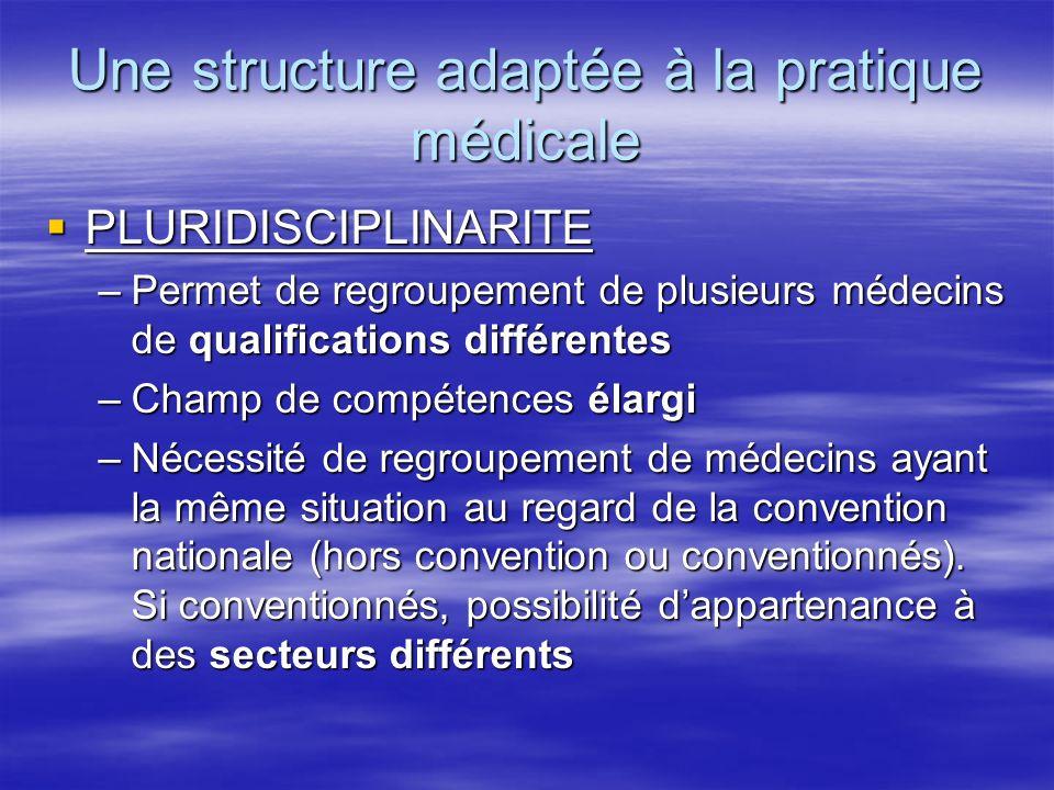Une structure adaptée à la pratique médicale