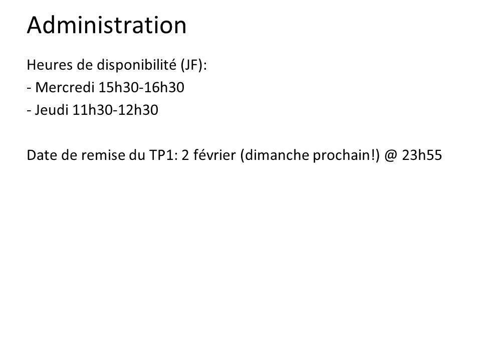 Administration Heures de disponibilité (JF): - Mercredi 15h30-16h30