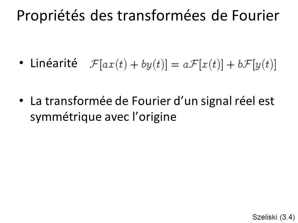 Propriétés des transformées de Fourier