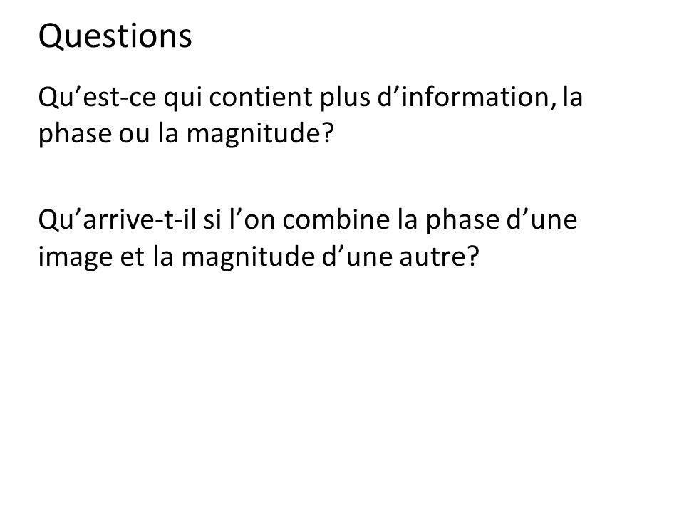 Questions Qu'est-ce qui contient plus d'information, la phase ou la magnitude