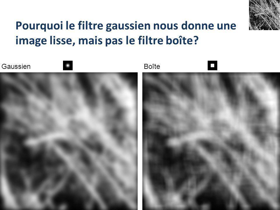 Pourquoi le filtre gaussien nous donne une image lisse, mais pas le filtre boîte