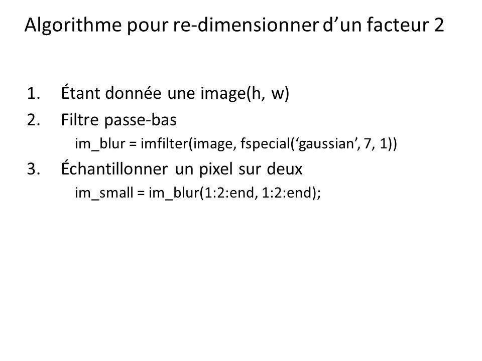 Algorithme pour re-dimensionner d'un facteur 2