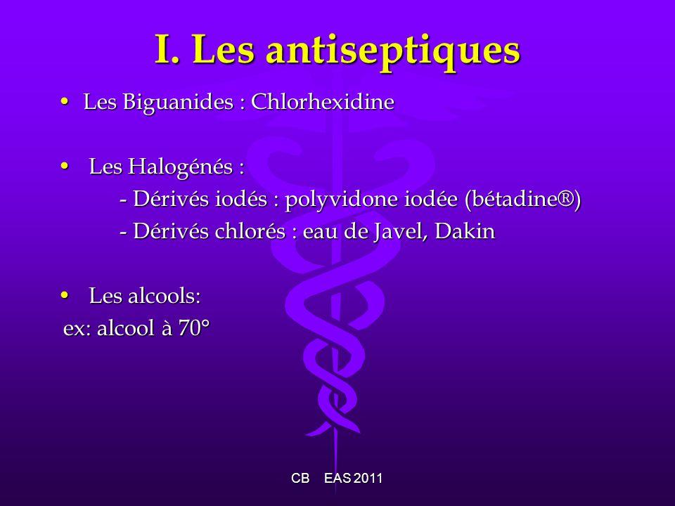 I. Les antiseptiques Les Biguanides : Chlorhexidine Les Halogénés :