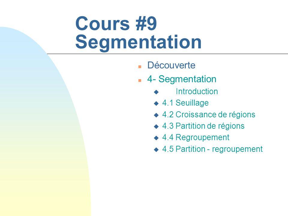 Cours #9 Segmentation Découverte 4- Segmentation Introduction