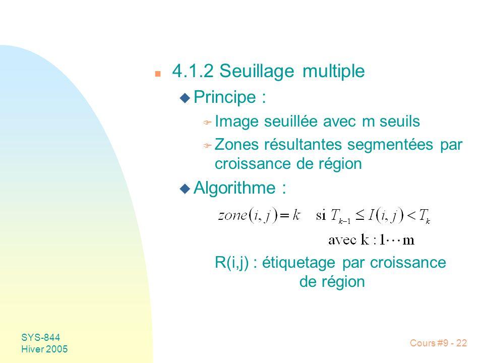 4.1.2 Seuillage multiple Principe : Algorithme :