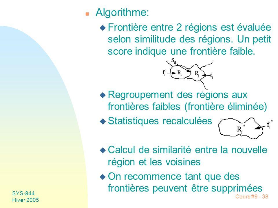 Algorithme: Frontière entre 2 régions est évaluée selon similitude des régions. Un petit score indique une frontière faible.