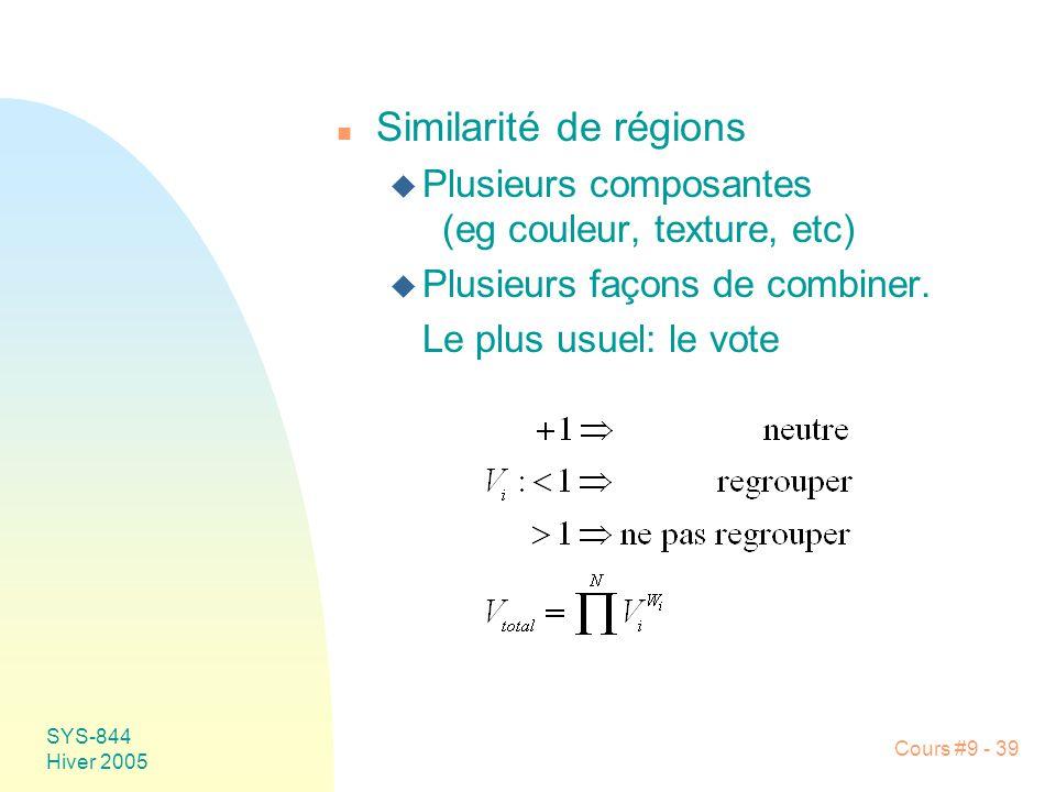 Similarité de régions Plusieurs composantes (eg couleur, texture, etc)