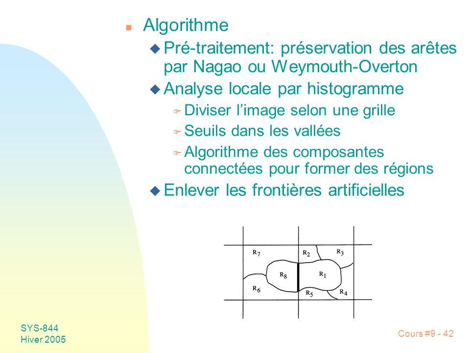Algorithme Pré-traitement: préservation des arêtes par Nagao ou Weymouth-Overton. Analyse locale par histogramme.