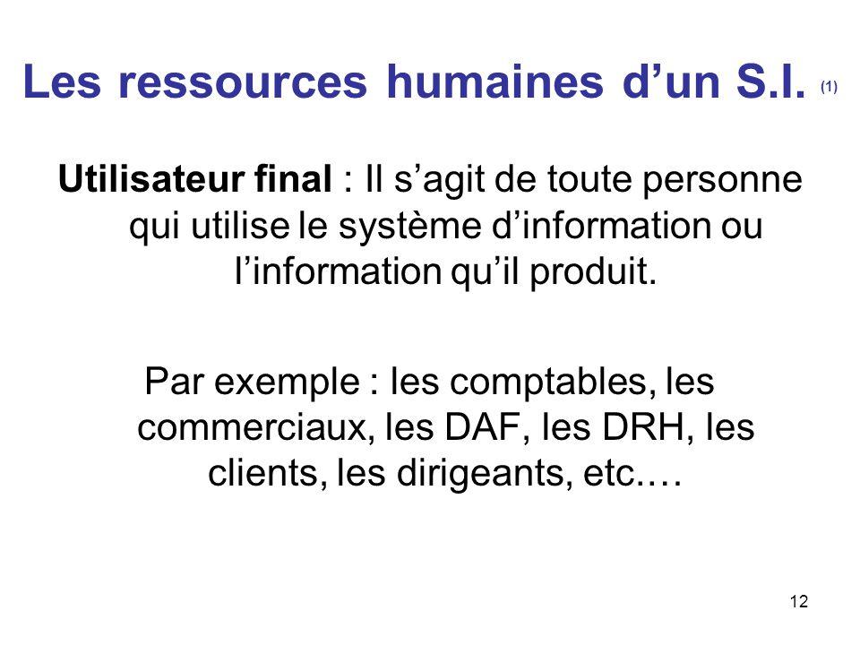 Les ressources humaines d'un S.I. (1)