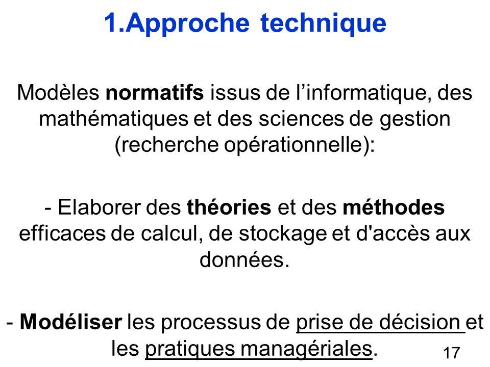 1.Approche technique Modèles normatifs issus de l'informatique, des mathématiques et des sciences de gestion (recherche opérationnelle):