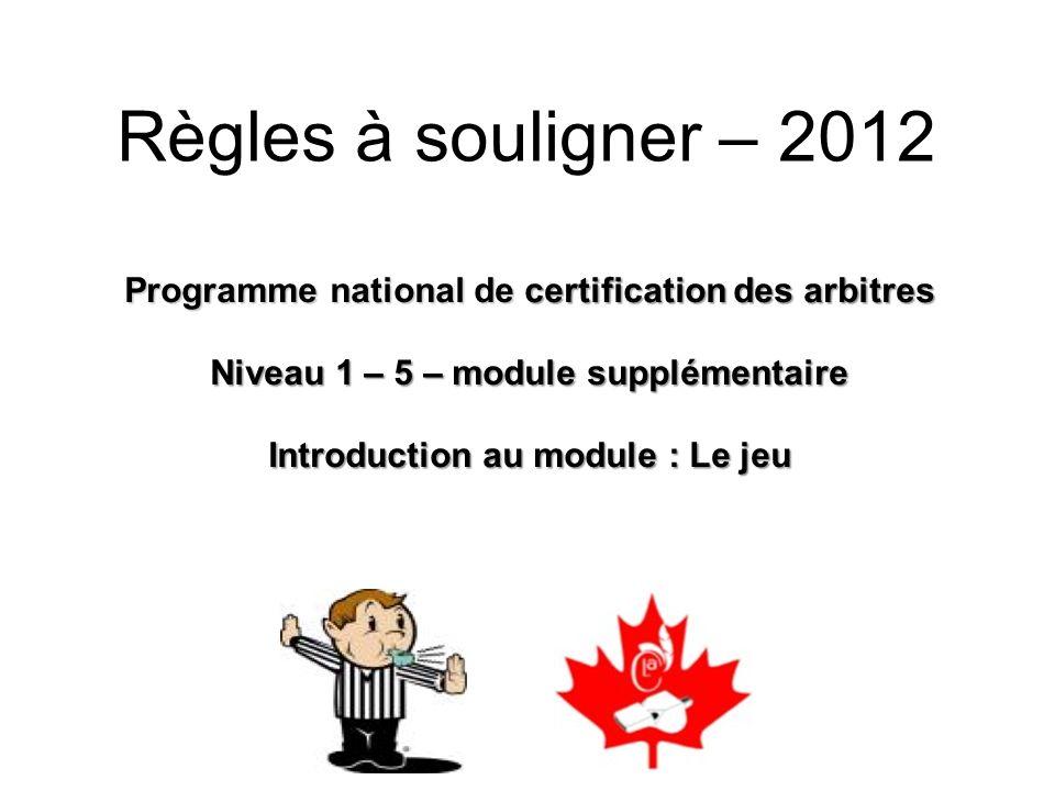 Règles à souligner – 2012 Programme national de certification des arbitres. Niveau 1 – 5 – module supplémentaire.