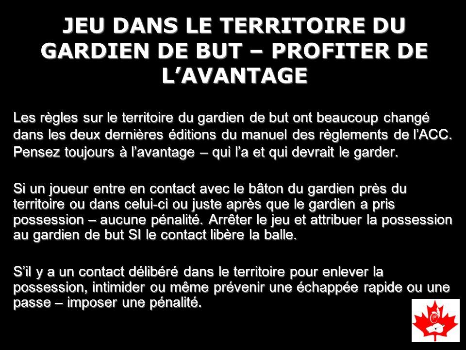 JEU DANS LE TERRITOIRE DU GARDIEN DE BUT – PROFITER DE L'AVANTAGE