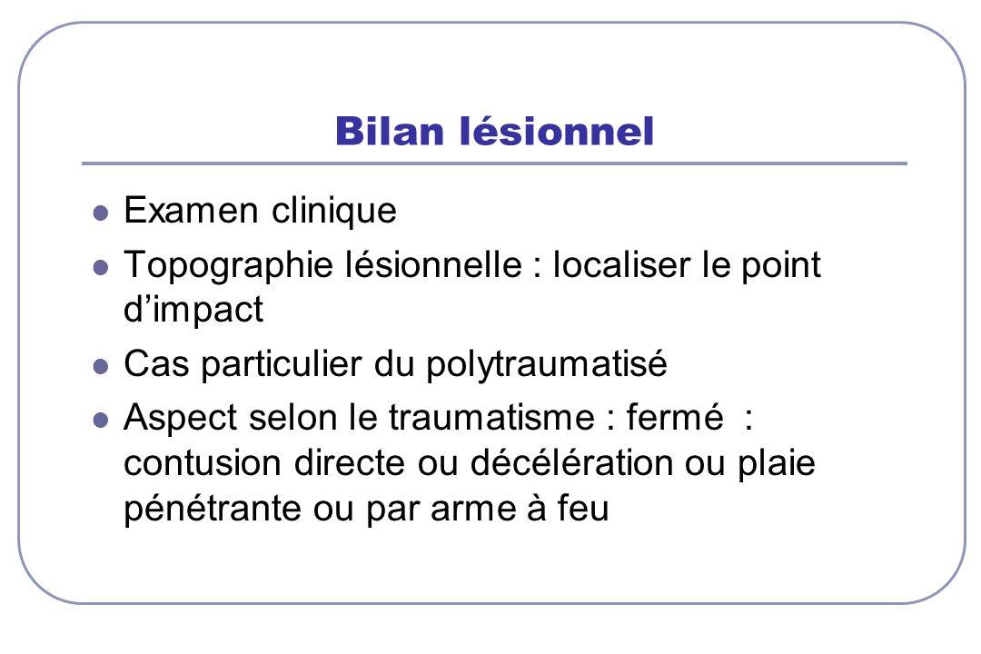 Bilan lésionnel Examen clinique
