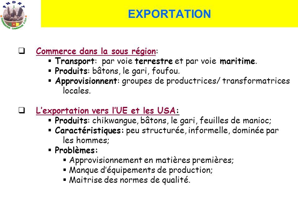 EXPORTATION Commerce dans la sous région: